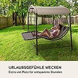 Doppel-Schaukel-Liege Gartenliege Stahlrahmen Sonnendach - 2
