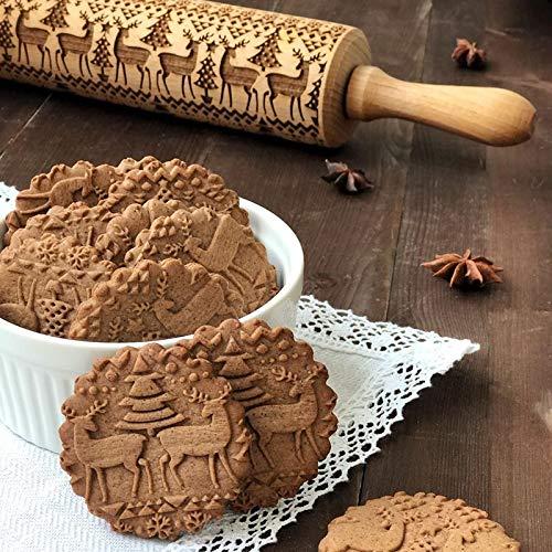 Rokoo Prägeschablone aus Holz, mit Prägung für Weihnachten