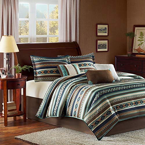 Madison Park Malone Queen Size Bed Comforter Set Bed in A Bag - Blue, Brown, Southwestern Pattern, Fair Isle – 7 Pieces Bedding Sets – Micro Herringbone Fabric Bedroom Comforters