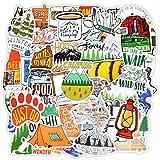 LANYU Pegatinas de Paisaje para Acampar, Aventuras al Aire Libre, Escalada, Viaje, Pegatina Impermeable para Maleta DIY, portátil, Bicicleta, Casco, Coche, 50 Uds.