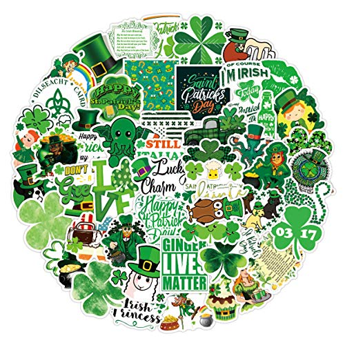 52Pcs St. Patrick's Day Stickers,Cute Aesthetic Vinyl Waterproof St. Patrick's Day Stickers for Laptop Water Bottle Envelopes Crafts Scrapbooking,Stickers for Kids Teens Adults