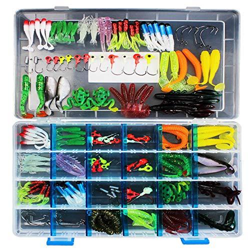 RoseFlower Artificiali da Pesca Spinning,Kit di Esche per Pesci,Esche Cucchiaino,Esche Doppio Amo, Trota/Persico/Luccio Esche di plastica (146 Pezzi)