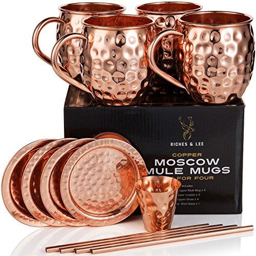 Bicchieri di rame Moscow Mule Include 4 bicchieri, 4 sottobicchieri, 4 cannucce, 1 Misurino più Accessori in rame puro al 100% Bicchieri a barile