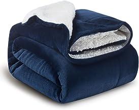 Bedsure Sherpa Fleece Blanket Throw Size Navy Lightweight Super Soft Cozy Luxury Bed..