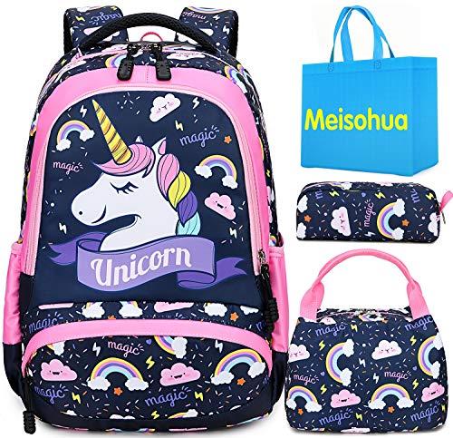 Mochila Unicornio Niños Impermeable Mochila Escolar para Adolescente Pequeñas Mochilas Infantil Bolso para Chicas para La Escuela,Viajes,Intemperie Juego de 3 (Rosa)