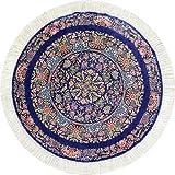 Yilong Carpet 3'x3' Round Silk Handmade Persian Carpet Small Blue Floral Oriental Area Rug Home Decor Rug Mat