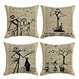 QIQIANY Set of 4 Vintage Newspaper Halloween Decorative Throw Pillow Covers 18 x18 inch Home Decor Set Halloween Christmas Thanksgiving Fall Cushion Cover Pillowcases for Sofa Couch Bedroom