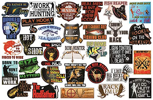 Hunting and Fishing Stickers. Adult Stickers for The Avid Hunter or Fisherman. Make Great Hunting Accessories or Fishing Accessories - 100% Waterproof Vinyl Stickers