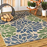 JONATHAN Y Zinnia Modern Floral Weave Indoor/Outdoor, Bohemian,EasyCleaning,HighTraffic,LivingRoom,Backyard, Non Shedding Area Rug, 4 X 6, Navy/Green