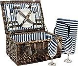 Wicker Picnic Basket for 2, Picnic Set for 2,Willow Hamper Service...