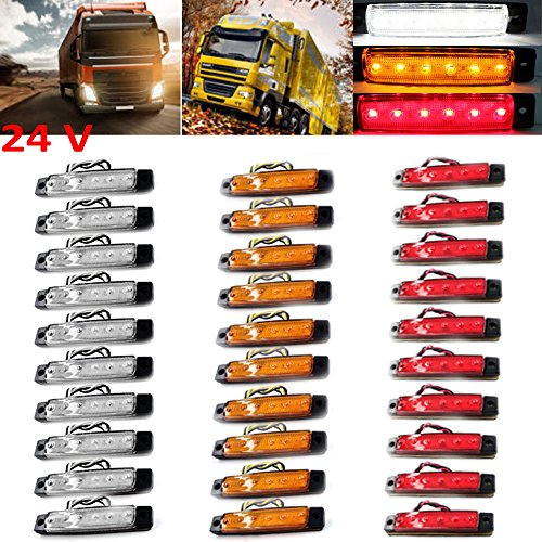 PolarLander 30Pcs 24V 6LED Indicatori Laterali Luci per Camion per autocarri Camion a Motore 6 LED...
