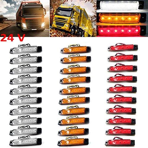 PolarLander 30Pcs 24V 6LED Indicatori Laterali Luci per Camion per autocarri Camion a Motore 6 LED Amber Clearance Bus Impermeabile Rosso/Giallo/Bianco