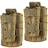 Double Mag Pouch, Hoanan Tactical Molle Magazine Pouch Open-Top Single Rifle Pistol Mag Pouch Cartridge Clip Pouch Hunting Bag (2pack-Upgrade Brown)