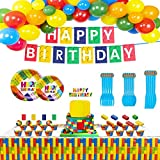 Building Blocks Birthday Party Supplies,127pcs Birthday Party Decorations Include Happy Birthday Banner,Tablecover,Plates,Knives,Spoons,Forks,Cake Toppers,Cupcake Toppers,Latex Balloons