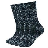 EnerWear 4 Pack Women's Merino Wool Outdoor Hiking Trail Crew Sock (US Shoe Size 4-10, Black/Grey/Multi)