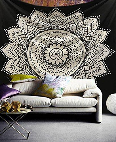 Raajsee Arazzo Mandala bianco e nero indiano cotone appeso alla parete tiro Hippie/Bohemian...
