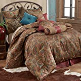 HiEnd Accents San Angelo Western Paisley Comforter Set, Super King, Red Bedskirt 4 PC