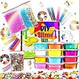 Kit de Slime Fluffy, bricolage en 12 couleurs d'argile en cristal avec 10...
