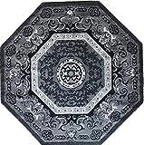 Carpet King Traditional Persian Oriental Octagon Area Rug Grey Black Silver Gray Design 101 (4 Feet X 4 Feet)