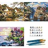 Peinture par Numero Adulte, INSOUR 3 Pièces Kits de Peinture au Numéro pour Adultes Enfants Débutant, avec Brosses et Peintures Acryliques - Paysage 16x20...