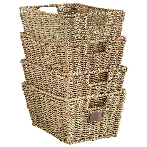 VonHaus Set of 4 Seagrass Storage Baskets with Insert Handles...