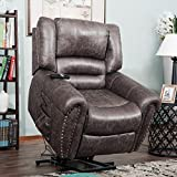 Merax Wilshire Series Heavy-Duty Power Lift Recliner Chair with Built-in Remote and 2 Castors(Brown)