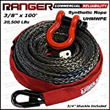 Ranger 3/8' x 100' Durable UHMWPE Synthetic Winch Rope Cable 20,500LBs with Protective Sleeve