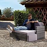 TecTake Poly Rattan Lounge Set 2 Sitzer Sofa mit Hocker - 2
