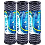 ICEPURE 1 Micron 2.5' x 10' Whole House CTO Carbon Sediment Water Filter Cartridge Compatible with Dupont WFPFC8002, WFPFC9001, SCWH-5, WHCF-WHWC, WHCF-WHWC, FXWTC, CBC-10, RO Unit, Pack of 3