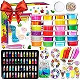 Fai da Te Fluffy Slime Kit –24 Colori Slime Kit per Ragazze Ragazzi Giocattoli con 48 Glitter in Polvere, Slime Forniture per Bambini, Include Argilla,...