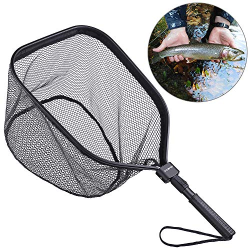 ODDSPRO Fly Fishing Landing Net, Bass Trout Net, Catch and Release Ruber Coating Net - Foldable...
