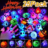 BUDI 25Pc Halloween LED Party Favors Flash Rings for Kids and Adults (Halloween Rings-25 Pack)
