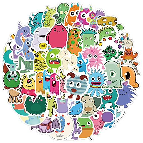 Cute Monster Stickers 50pcs  for Kids Water Bottle, Cool Waterproof Cartoon Stickers for Teen Laptop Travel Case Computer Guitar Skateboard Phone Bicycle Luggage Bike