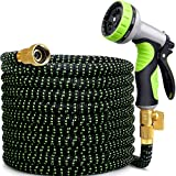 MOSFiATA Garden Hose Flexible 50FT Extended Water Hose with Spray Gun Brass 9 Types of Shower Head 3750D Wear-Resistant Polyester Material for Home,Garden,Patio and Car Cleaning