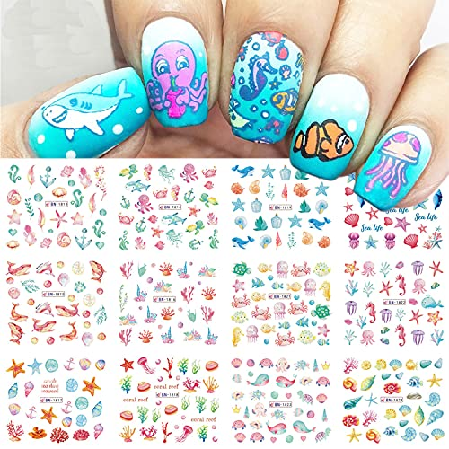 Summer Ocean Nail Art Stickers Decals 12 Sheets Summer Nail Accessories Decorations Cute Anime Sliders For Nails Ocean Beach Water Transfer Nail Decals For Manicure DIY Wraps Decor