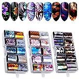 Kalolary Nail Art Foil, 30 coloresHolográfico Nail Stickers Tips Wraps Foil Transfer Sticker Glitters Kit de decoración para manicura...