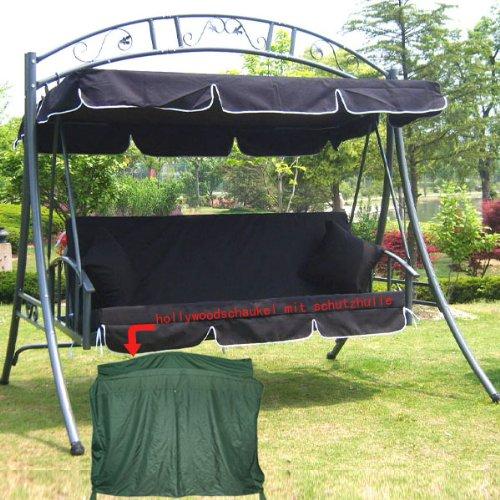 Loywe Hollywoodschaukel Mit Bettfunktion, 3-Sitzer Gartenschaukel Gartenliege, 218x215x160cm, mit Sonnendach und 2 Kissen, LW51 (Schwarz)