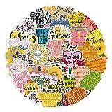 BLOUR 50 Uds Nueva Pegatina con Letras Inspiradoras en inglés para Maleta con Ruedas para Tazas al Aire Libre, Maleta, Cuaderno, Cuaderno, Impermeable, Pegatina DIY