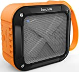 Ancord Waterproof Bluetooth Speaker with FM Radio IPX6 Portable for Outdoor 12 Hours Playtime Silicon Strap for Hanging (Orange)