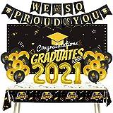 Graduation Decorations 2021 Graduation Party Supplies Graduation Banner Congratulations Grad Backdrop Congrats Photo Banner,'2021' Aluminum Film Balloons and Graduation Balloons for Graduation Decor
