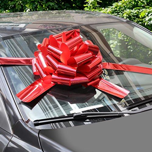 WXJ13 - Lazos de coche con cinta de 6 m para regalos de Navidad, decoración de regalo, bailes, fiestas sorpresas, nuevas casas, color rojo brillante