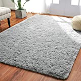 Softlife Fluffy Bedroom Area Rugs 5.3 x 7.6 Feet Shaggy Nursery Rug for Girls Baby Kids Dorm Room Modern Home Decorative Plush Indoor Floor Carpet, Grey