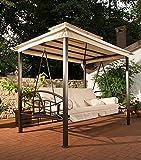 CLP Hollywoodschaukel Kenia mit Bettfunktion I Gartenschaukel für bis zu DREI Personen I Schaukel mit Sonnendach I erhältlich Creme - 3