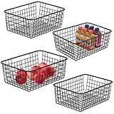 Wire Storage Baskets, iSPECLE 4 Pack Metal Wire Basket Large Pantry Storage Organization Baskets...