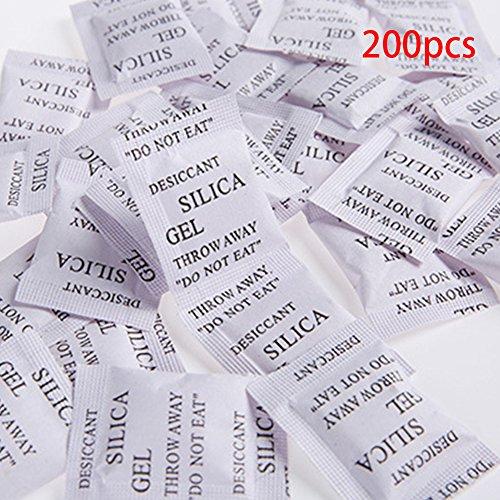 Paquete de 200 bolsas de gel de sílice, multiusos, antihume