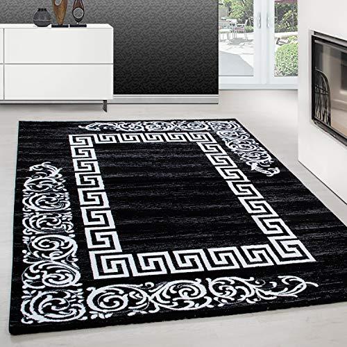 Tappeto dal Design Moderno Tappeto a rettangolo con Motivo Barocco Nero, Dimensione:160 cm x 230 cm