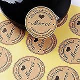 (300pcs) 25 feuilles de Rond Merci Autocollants avec Coeur -Fait Main Avec Amour & Spécialement pour Vous Stickers Etiquettes pour Mariage Cadeau ou Enveloppe(Dia : env.3,8cm)