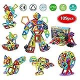 infinitoo Magnetische Bausteine 109tlg Magnetic Bauklötze Baukasten Kinder | Tolles Geschenk Lernspielzeug für Kinder ab 3 Jahre | Perfekt für den Einsatz zu Hause, in Schulen, Kindertagesstätten