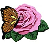 YOUSA Butterfly and Rose Bedroom Area Rug 30.7''25.6''