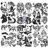 Konsait 6 Feuilles Noir Autocollants Tatouage Temporaire pour Adulte Fomme Femme Animal Loup Tigre Lion Crâne Papillon Dragon Hibou Tatouage Éphémère Fomme Faux Corps Bras Poitrine Épaule Tatouages